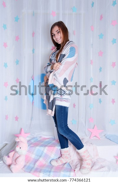 4b080181e987a0 Young Girl Wearing Pajamas In Bed. Cute teenage girl rest at home. Merry  Christmas