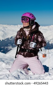Young girl wearing sport gear on winter vacation