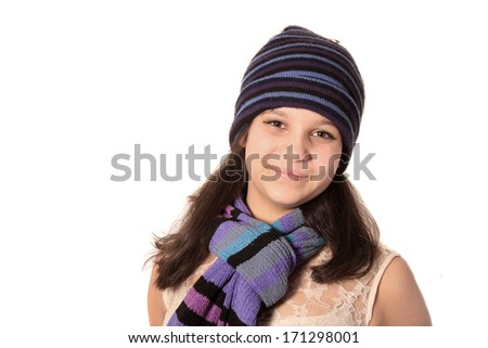 67fb6d885532 Young Girl Wearing Wool Cap Scarf Stock Photo (Edit Now) 171298001 ...