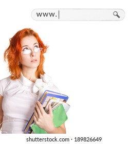 young girl  in white office style dress.Web bar added