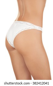 Young Girl in white painties with ideal skin without cellulite