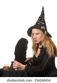 Young girl in witch costume