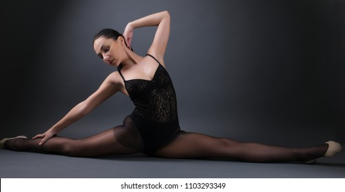 Young Girl Or Woman Dancer With Sexy Flexible Body Of Ballerina In Black