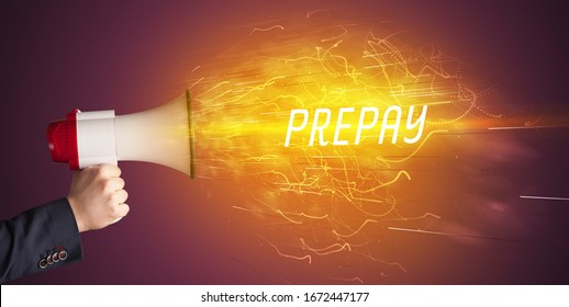 Young girld shouting in megaphone with PREPAY inscription, online shopping concept