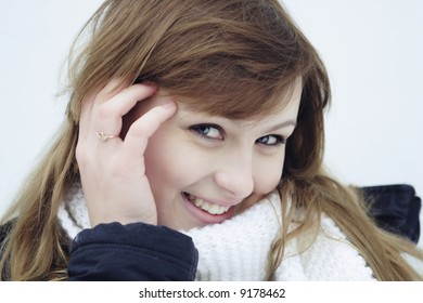 young girls with blue eyes in winter wears