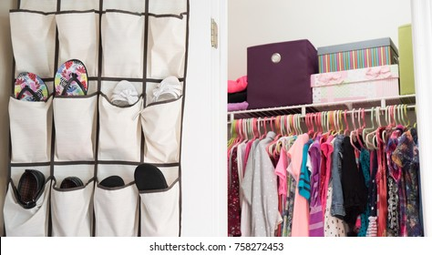A young girl's closet neatly organized with hanging shoe rack, bins, and boxes.