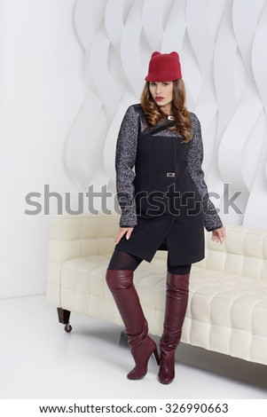 d6c5d2167 Young Girls Coats Posing Studio Stock Photo (Edit Now) 326990663 ...