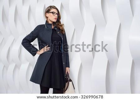2a77f6eae Young Girls Coats Posing Studio Stock Photo (Edit Now) 326990678 ...