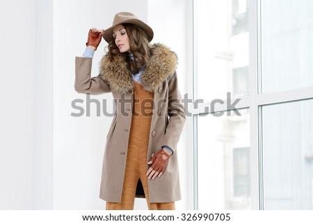 42834de2c Young Girls Coats Posing Studio Stock Photo (Edit Now) 326990705 ...