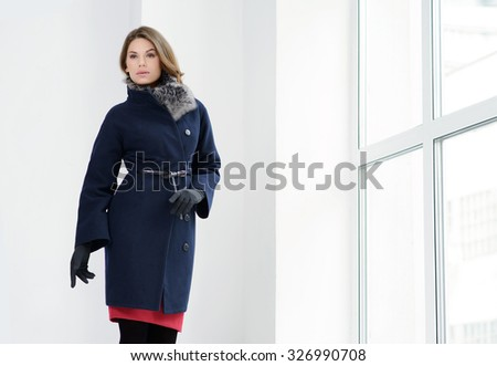 e182ca281 Young Girls Coats Posing Studio Stock Photo (Edit Now) 326990708 ...