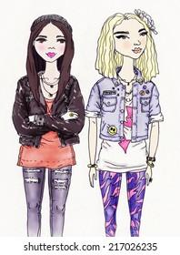 young girls .fashion illustration