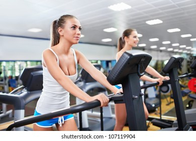 Young girls in fitness club