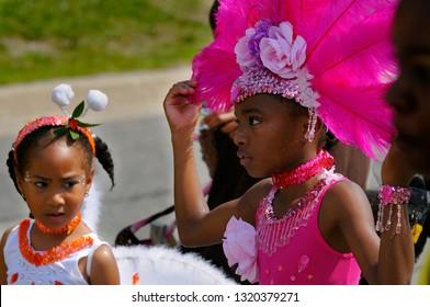Young girls getting ready to play Mas at the Junior Caribana Parade Toronto, Ontario, Canada - July 19, 2008