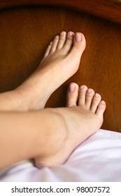 young girls perfect feet in bed
