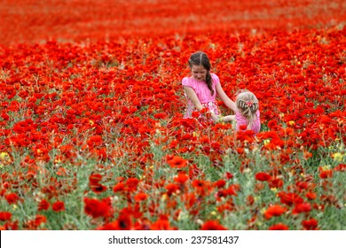 young girls at the poppies field