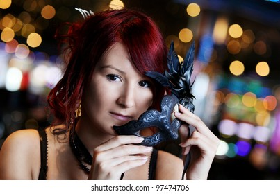 young girls portrait with venetian mask