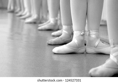 young girls training to perform ballet