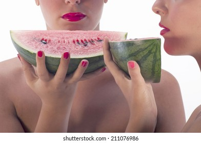young girls with watermelon