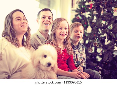 Young glad family enjoying Christmas evening together at home
