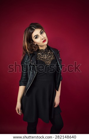 Young Glam Rock Woman Portrait Black Stock Photo Edit Now