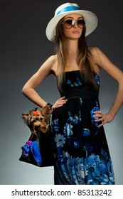 Young glamor woman with Yorkshire Terrier dog in her bag