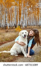 Young golden retriever with his owner. Dog breed labrador with woman outdoors