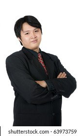 Young good looking asian business man isolated over white background