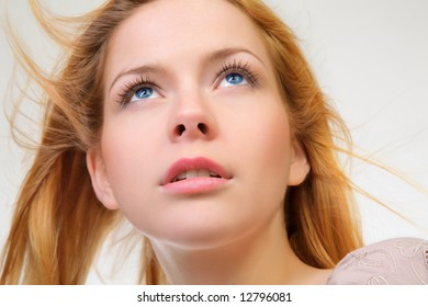 Young and good  looking  woman. Portrait of a beautiful young woman with wind