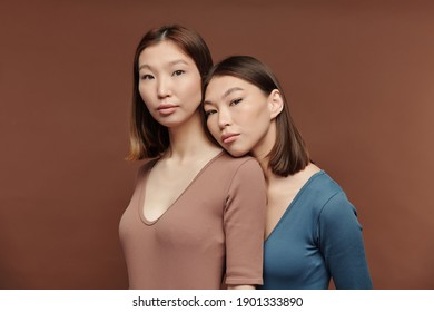 Young gorgeous female of Asian ethnicity with dark smooth hair keeping head on shoulder of her pretty twin sister in front of camera