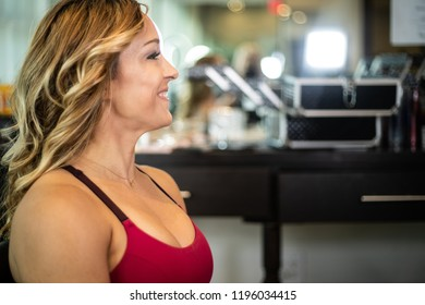 Young Gorgeous Woman Smiling At The Salon