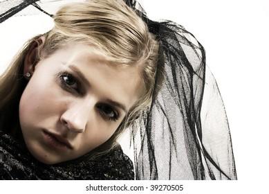 Young gothic woman portrait - gothic bride