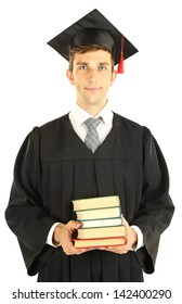 Young graduation man with books, isolated on white