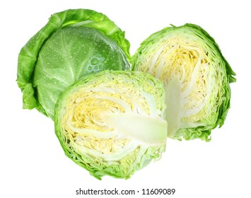 Young green cabbage isolated on white background