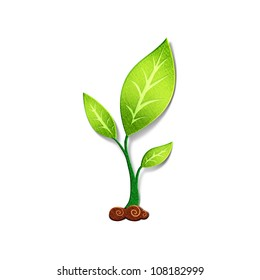 Young green plant. Environmental concept. Paper cut illustrations.  Isolated on white background