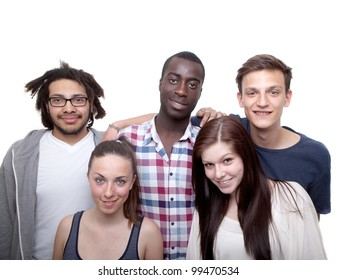 Young group of five women and men isolated over white background.
