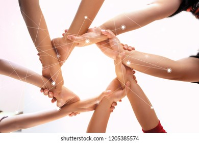 Young group are join hands for working the job success , Hands, symbolizing the hands to unity and line connection for teamwork ,success ,helps , business concept.