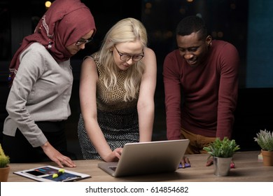 Young group of multiethnic business people on a meeting in meeting room