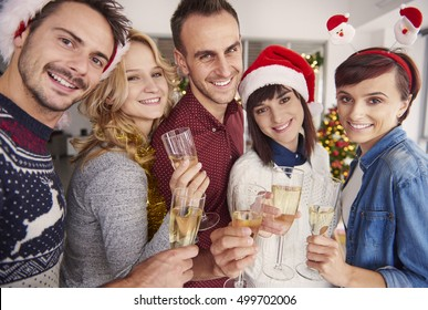 Young group of people at Christmas celebration