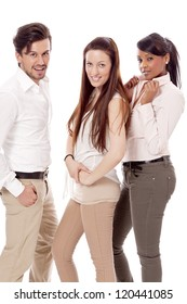 young group team business student in casual outfit isolated
