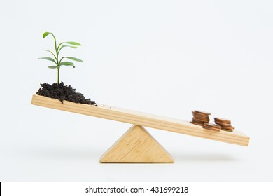 Young growing plant balancing on seesaw over a stack of coins