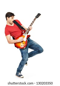 Young guitarist plays on the electric guitar with bright emotions, isolated  on white background