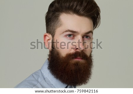 young guy beard guy after hairdresser stock photo edit now