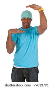 Young guy in a blue t-shirt making a frame with his arms. Isolated on white background.