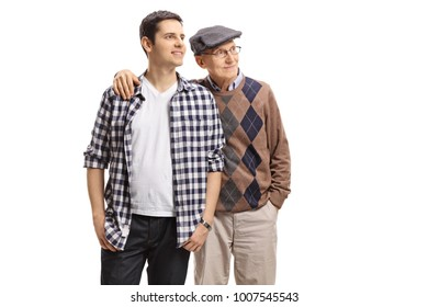 Young guy and an elderly man looking away isolated on white background