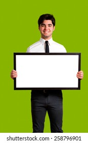 young guy holding board