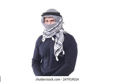 young guy looks in the Arab keffiyeh