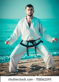 Young guy training karate poses at seaside in sunny morning outdoor