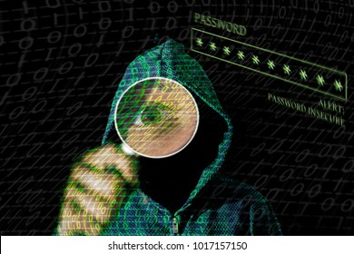 Young hacker in data security concept on a dark background