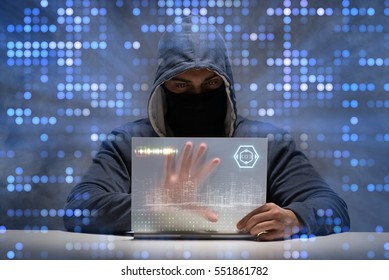 Young hacker in data security concept