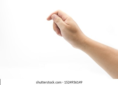 A young hand hold card virtual gesture closeup isolated on white background